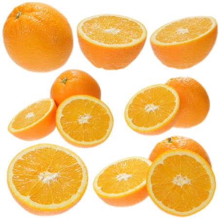 Set of fresh orange fruits isolated on white background