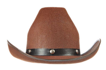 leather hat: A brown cowboy hat in front of a white background.