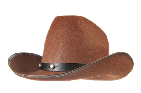 brown leather hat: A brown cowboy hat in front of a white background.