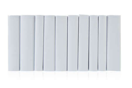 Row from grey books on white background Stock Photo