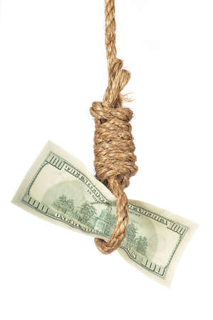 One hundred dollar bill in gallows noose Stock Photo