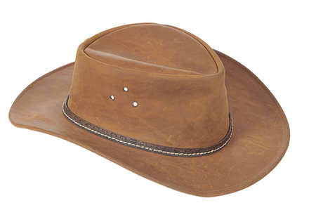 brown leather hat: A brown cowboy hat on white background.