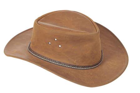 sombrero: Un sombrero de vaquero marr�n sobre fondo blanco.