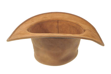 Inverted brown cowboy hat as a original flower plant pots or container for charity white background.