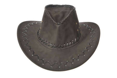 cowboy hat: Black cowboy hat in front on white background. Stock Photo