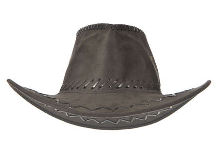 A black cowboy hat in front on white background.