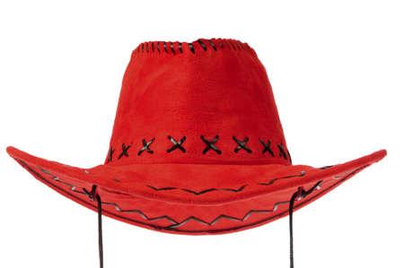 Chapeau de cow-boy rouge à l'avant sur fond blanc.