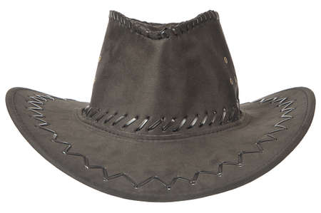 Black cowboy hat in front on white background. Stock Photo