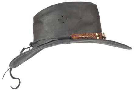 Black Cowboy-Hut-Profil von einem weißen Hintergrund.