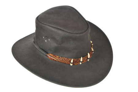 A black cowboy hat on white background.