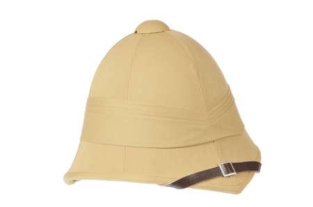 British cork helmet on white background