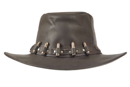 A brown cowboy hat in front on white background.