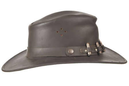 A brown cowboy hat profile of a white background.