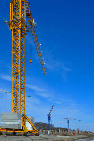 Tower-crane at a construction site Stock Photo