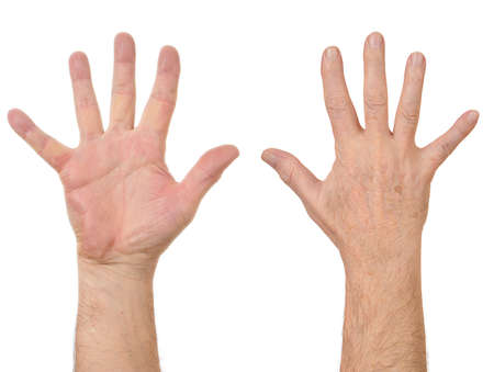 Old man hands counting number five Stock Photo - 6831278