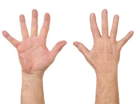 arm: Vecchio uomo mani Conteggio numero cinque