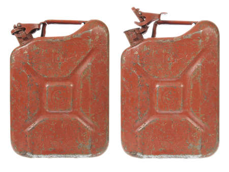 gas can: Rusty Gas Can isolated on white. Closed and Open