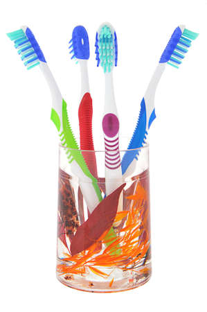 Four toothbrush iv decorative glass on white