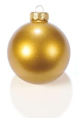 Christmas Bronze Ball isolated On White Background Stock Photo