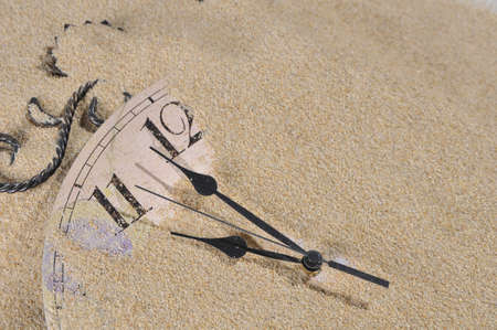 sands of time: Analog Wall Clock buried under the sand