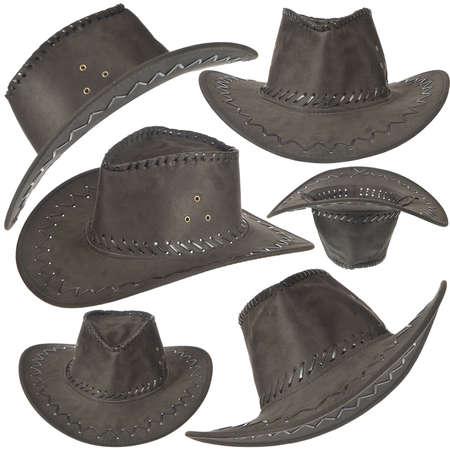 cappello cowboy: Set di cappello da cowboy nero di fronte su sfondo bianco.
