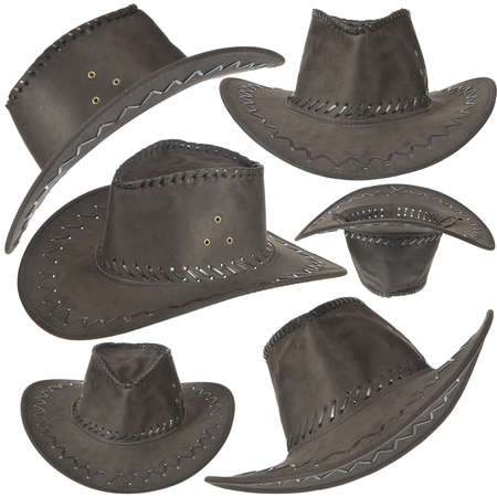 Set of black cowboy hat in front on white background. Stock Photo