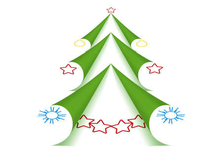 Twisted corners of pages in the form of Green Christmas Tree Stock Photo - 11499631