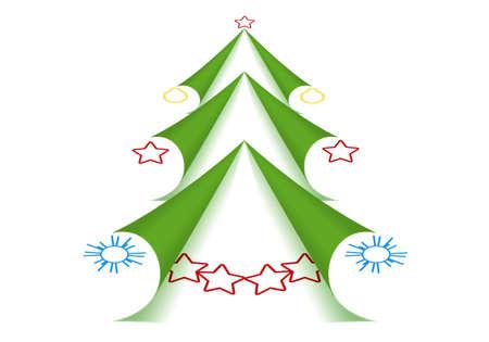 Twisted Esquinas De Las Páginas En Forma De árbol De Navidad Verde ...