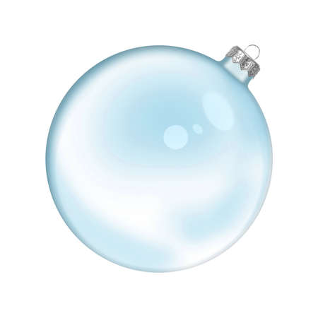 Christmas blue glass transparent ball isolated on white background photo