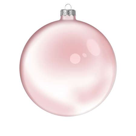 Christmas red glass transparent ball isolated on white background Stock Photo