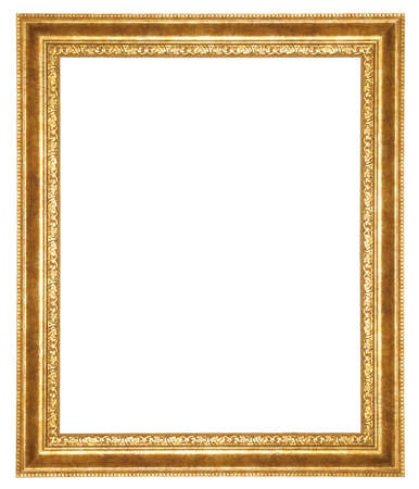 gold antique frame isolated on white background  photo