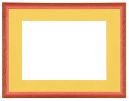 red modern wooden frame with yellow passe-partout on white background photo