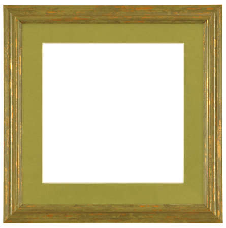 green modern wooden frame with marsh passe-partout on white background photo