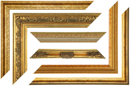 Set of elements of vintage picture frame on white background  Stock Photo