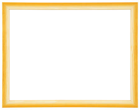 Yellow modern wooden frame on white background photo