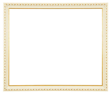 white frame with gold ornaments isolated on white background  Stock Photo