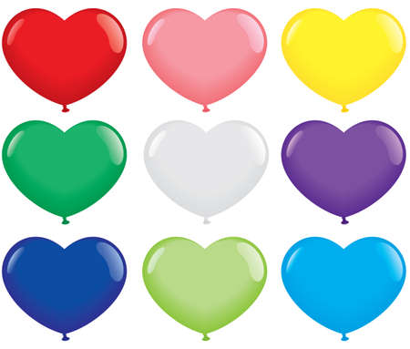 Multicolored Heart Shape Balloons. Isolated on white. Vector format Vector