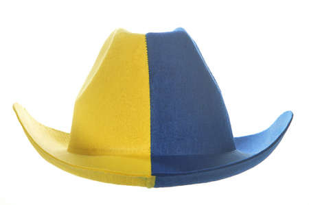 A yellow-blue cowboy hat, as an attribute of a ukrainian or a sweden fan