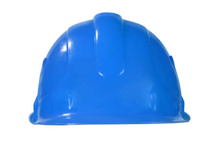 blue helmet: Blue hard hat isolated on white