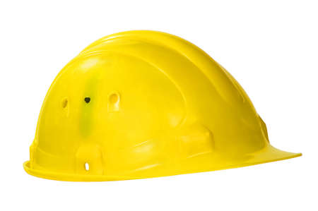 Yellow hard hat isolated on white  Stock Photo - 12202223