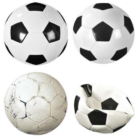 Set of new and used soccer balls, isolated on white background