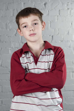 Portrait of boy 10 years. Studio shoot.