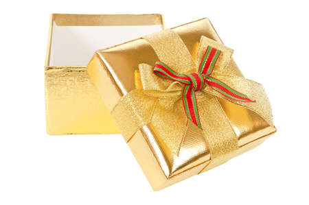 Opened empty gold gift box on a white background  Stock Photo