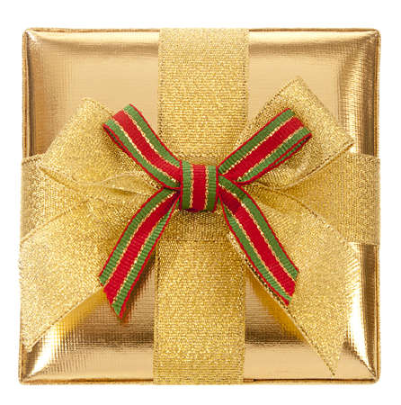 closed ribbon: Closed gold gift box with bow and ribbon on a white background. View from Up