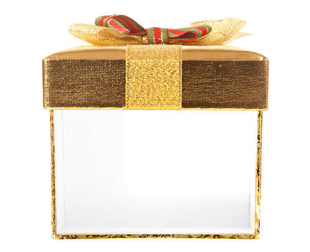 Front view of gold gift box with an open side wall on a white background. Just put your gift into this box
