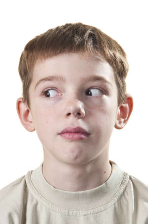 aside: Portrait of a teenager with a white background