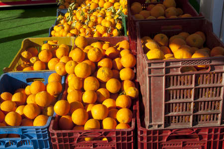Fresh oranges on the market placed in plastic containers