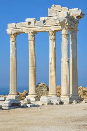 Temple of Apollo in sun mormning, Side, Turkey.