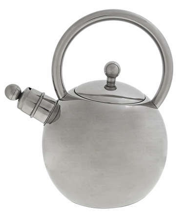 classic stainless steel kettle isolated on white background photo