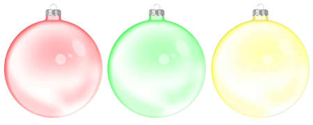 Set Of Christmas glass transparent ball isolated on white background